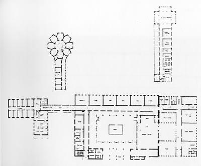 <p><strong>15.</strong> Musiki  Muallim Mektebi ve ekler, zemin kat planı<br />   Kaynak:  Aslanoğlu 1985, s.31.</p>