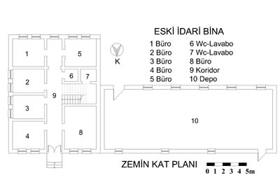 <p><strong>15b.</strong> Eski idari bina ve planı</p>
