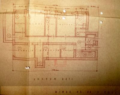 <p><strong>Resim  16. </strong>Bodrum kat planı,  Egli, 1935<br />  Kaynak: ABB Arşivi</p>