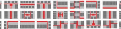 <p><strong>16</strong>. Aynı yapı adası boyutları ve yapı yoğunluğu kabulü ile &ldquo;birbiri  ile ilişkili&rdquo; yarı kamusal mekân üretimine dayalı, farklı fiziksel formlarda  geliştirilebilecek hipotetik (varsayımsal) yapı adaları ve kentsel doku örneği<strong> </strong></p>