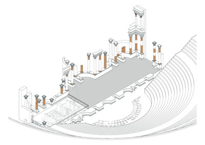 <p><strong>16. </strong>Cartagena Roma  Tiyatrosu sahnesi restorasyon projesinden aksonometrik görünüş (Tasarım: José  Rafael Moneo Vallés, 2008).</p>