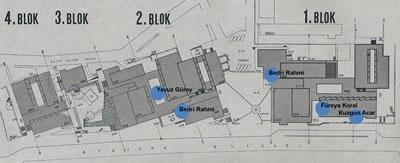 <p><strong>16.</strong> Toplam altı bloktan oluşan yapı  kompleksinde sanat eserlerinin yerleştirildiği alanlar gösterilmektedir.<br />Kaynak: İmeceden İMÇ ye, 2009.