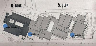 <p><strong>16b.</strong> Toplam altı bloktan oluşan yapı  kompleksinde sanat eserlerinin yerleştirildiği alanlar gösterilmektedir.<br />Kaynak: İmeceden İMÇ ye, 2009.