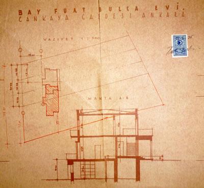 <p><strong>Resim  18. </strong>Vaziyet planı ve  kesit, Egli, 1935<br />  Kaynak: ABB Arşivi</p>