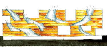 19. Simmons Massachusetts Teknoloji Enstitüsü kesitte havalandırma bacaları, Steven Holl, Cambridge, 2002. (Kaynak: URL14)