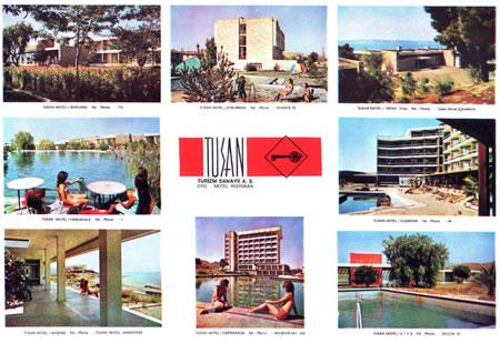 Resim 1. (Soldan sağa) 1. Sıra: Bergama TUSAN Motel, Kızılırmak TUSAN Otel, Troya TUSAN Motel 2. Sıra: Pamukkale TUSAN Motel, Kuşadası TUSAN Otel 3. Sıra: Akdeniz TUSAN Motel, Kapadokya TUSAN Otel, Efes TUSAN Motel (Kaynak: Denizeri Arşivi)