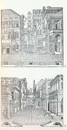 <p><strong>1.</strong> 16. ve 17. yüzyıl Venedik'te trajedi  ve komedi tiyatro oyunlarının oynandığı sokak desenleri<br /> (Kaynak: Rowe,  Koetter, 1997)</p>