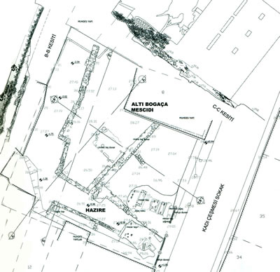 <p><strong>1a.</strong> İstanbul Fatih'teki Altıpoğaça Mescidi'nin kalıntılarını  gösteren vaziyet planı ve fotoğraf Kaynak: <strong>Tarihi  Çevre Koruma Müdürlüğü Projeleri 2004-2013</strong>, s.85 ve 90</p>