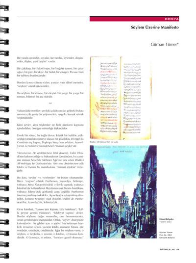 """<p><strong>1b.</strong> """"Söylem  ve Mimarlık"""" dosyasının olduğu 341. Mayıs-Haziran 2008 sayısı, ss. 22-23.</p>"""