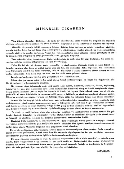 <p><strong>1c.  Mimarlık</strong>, 1944  (1.Yıl), sayı: 1</p>