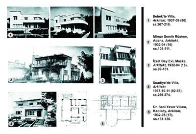 <p><strong>20. </strong><em>Arkitekt</em> dergisinin  1930 lu yıllarda çıkan sayılarında belgelenmiş dönem özelliklerini yansıtan  örnekler.<br />Kaynak: dergi.mo.org.tr/detail.php?id=2&sayi_id=211