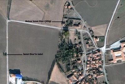 <p><strong>2. </strong>Mebus  İsmet Eker Çiftliği ve Çevresi, 2006<br />  Kaynak: Google Earth uydu  görüntüsünden işlenerek</p>