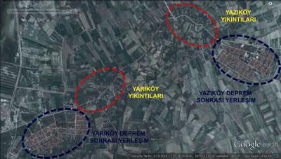 <p><strong>2.</strong> Yazıköy-Yarıköy 1971 depremi  yıkıntılarının ve deprem sonrası yerleşimlerinin uydu görüntüsü<br />Kaynak: Googleearth</p>