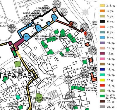 """<p><strong>2.</strong> Ayvansaray Kentsel Dönüşüm Projesi alanının kronolojik  haritası<br />Kaynak: Harita kısmi olarak alınmıştır, tamamı için bkz.:  Esmer, Mine, 2012, """"İstanbul'daki Orta Bizans Dönemi Kiliseleri ve Çevrelerinin  Korunması için Öneriler"""", Yayımlanmamış Doktora Tezi, İTÜ FBE, İstanbul, s.378.</p>"""