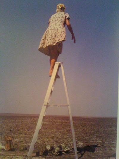 <p><strong>2.</strong> Bienal afişi, merdiven  üzerinden Nazca Çölüne bakan Maria Reiche</a> <br />Kaynak: www.iglooo.it/biennale-architettura-aravena/