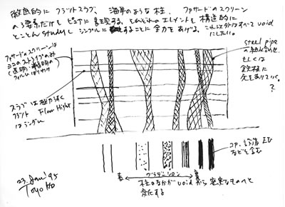 <p><strong>2.</strong> Toyo Itonun İlk Eskizi<br />Kaynak: Toyo Ito & Associates, Architects