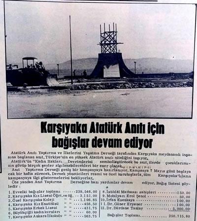 <p><strong>2.</strong> Anıtın yapımı için yapılan bağışları  gösteren gazete haberi<br />  Kaynak:  www.izmiryaziyor.com [Erişim: 10.07.2017]</p>