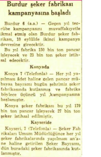 <p><strong>2.</strong> Şeker pancarı  alımı hakkına, <em>Cumhuriyet</em> gazetesinde  Eylül 1956 da yayımlanan haber<br />Kaynak: Cumhuriyet Gazetesi Arşivi, 08 Eylül 1956, s.3.