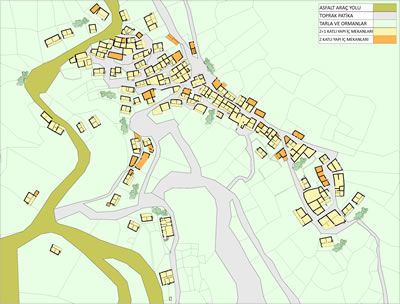 <p><strong>2.</strong> Lübbey Köyü yerleşim planı, 2013.<br />   Kaynak:  Yazar tarafından üretilmiştir.</p>