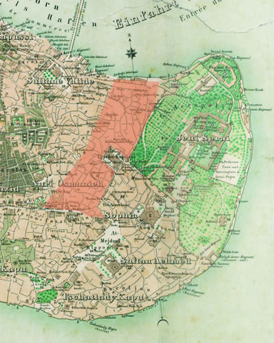 <p><strong>Resim 2.</strong> 1863 tarihli Stolpe haritasında, Tarihî  Yarımada da 1865 Hocapaşa yangın yerinin kuzey kesimi </p>
