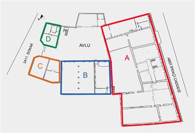 <p><strong>2.</strong> Çırçır Fabrikası uygulama öncesi durumu ve yapı bölümleri<br />   Kaynak:  SAYKA İnşaat Mimarlık Mühendislik</p>