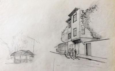 <p><strong>2.</strong> Nezih Eldemin M.  Soygenişin öğrenci projesi Süleymaniyede öğrenci yurtları için tashih eskizi,  1981<br />   Kaynak:  S+ ARCHITECTURE Arşivi</p>