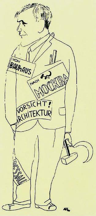<p><strong>2</strong><strong>. </strong>Hannes Meyerin Adolf Hofmeister tarafından çizilmiş  karikatürü, 1930.</p>
