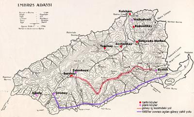 <p><strong>2.</strong>Adanın güney iç kesimindeki yol hattı ve yerleşimlerin  gösterimi yazar tarafından I. Dünya Savaşı dönemine ait haritadan  uyarlanmıştır.<br />Kaynak: awm.gov.au