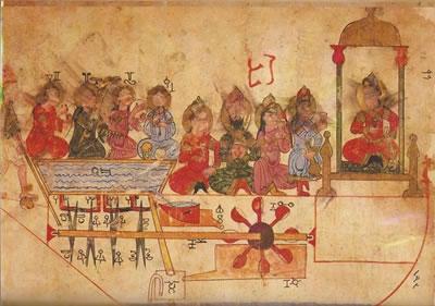 <p><strong>2.</strong> Müzisyenler teknesi, Al  Jazari, Topkapi elyazması, 1206.<strong></strong></p>