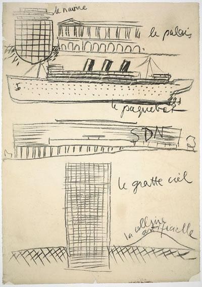 <p><strong>2. </strong>Transatlantikler mimarın  kariyerinde dönem dönem ortaya çıkar. Corbusierin Cenevredeki Milletler  Cemiyeti Binası eskizi, 1929</p>