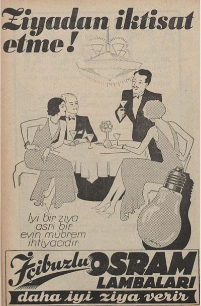 """<p><strong>2.</strong> """"Ziyadan İktisat Etme!: İyi bir ziya asri bir evin  mübrem ihtiyacıdır."""" <em>Ameli Elektrik</em>, 1932. <br />   Cansu Değirmencioğlunun """"Asri Konutu Aydınlatmak: Erken  Cumhuriyet Dönemi Türkiyesinde Yapay Aydınlatma Tasarımının Yeri üzerine bir  İnceleme"""" başlıklı sunumundan.</p>"""