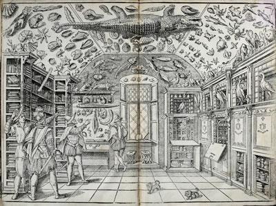 <p><strong>2.</strong> Nadire kabinesinin basılı ilk görsel temsili. Ferrante  Imperato, Dell Historia Naturale, 1599. <br />Kaynak: Biodiversity Heritage Library açık arşivi, https://www.biodiversitylibrary.org/page/47563651#page/13/mode/1up