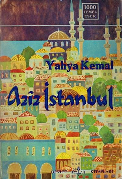 <p><strong>2. </strong>Yahya Kemalin ölümünün ardından yazılarının derlendiği <em>Aziz İstanbul</em> başlıklı kitabın kapağı</p>
