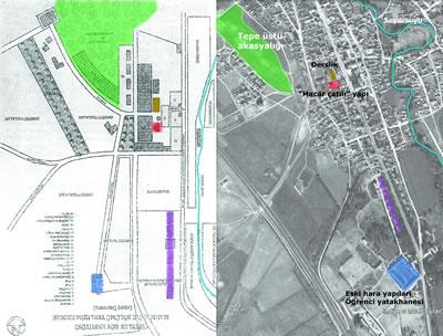 <p><strong>2.</strong> Küçükcan tarafından hazırlanmış Çifteler Köy  Enstitüsü Mahmudiye Yerleşkesi'nin 1949'daki durumunu gösteren kroki üzerinden,  Google Earth programından alınan hava fotoğrafında yapıların bugünkü  konumlarının araştırılması. 1886'da yapıldığı düşünülen eski hara yapıları mavi  rankle gösterilmiştir.<br />Kaynak: Küçükcan,  2008 ve Google Earth  imajı kullanılarak yazarlar tarafından hazırlandı </p>