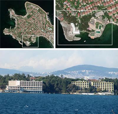 <p><strong>27. </strong>Günümüzde  Yapı Kredi Bankacılık Akademisi Eğitim ve Konaklama Tesisleri ve yakın çevresini  gösteren hava fotoğrafı<br /> Kaynak: Google  Earth, 2020.</p>