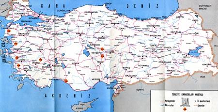 Resim 2. TUSAN M/oteller zincirini (Çanakkale, Bergama, Efes, Kuşadası, Pamukkale, Nevşehir, Avanos, Manavgat) gösteren harita, 1970'ler (Kaynak: Tuna Ultav Arşivi)