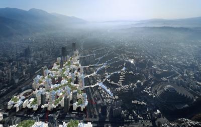 <p><strong>2.</strong> Geleceğin kenti: Torre David'te yaptıkları  çalışmalar sonucunda U-TT'nin geliştirdiği spekülatif önerilerden biri. Burada,  zenginler ile yoksullar ve formel ile enformel arasındaki sürdürülemez ve  tehlikeli aşırılıktaki ayrımı yok etmek için kentin gelecekte nasıl  gelişebileceği düşünülmüş.<br />  Kaynak: Daniel Schwartz / U-TT, ETH</p>