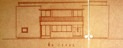 <p><strong>Resim  2. </strong>Giriş cephesi  çizimi, Egli, 1935<br />  Kaynak: ABB Arşivi</p>