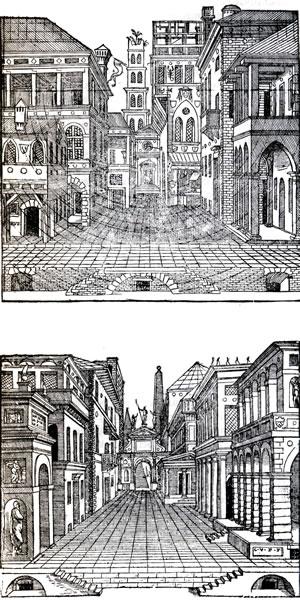<p><strong>2.</strong> 16. ve 17. yüzyıl Venedik'te  trajedi ve komedi tiyatro oyunlarının oynandığı sokak desenleri<br />  Kaynak: Rowe, Koetter,  1997.</p>