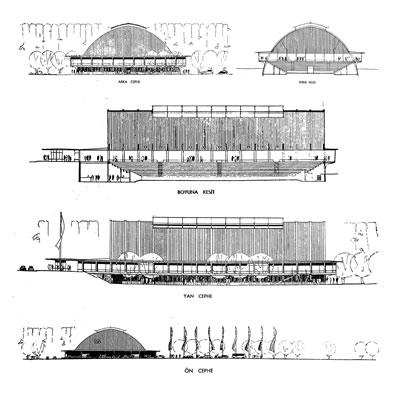 <p><strong>2. </strong>Uygulanan  Ankara Spor Sergi Sarayı Projesi. Kesitler ve görünüşler.<br />Kaynak: Evren, 1954.</p>