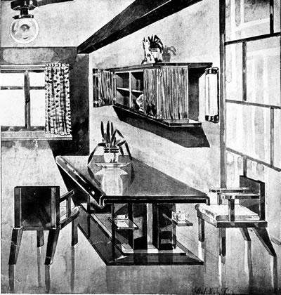 <p><strong>2a. </strong>Abdullah Ziyanın <em>Arkitekt</em> dergisinde yer alan modern iç mekân  çizimleri <br />  Kaynak: Ziya, 1931, <strong>Arkitekt</strong>, s.14.</p>