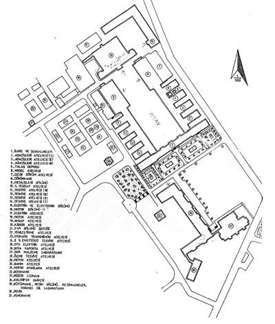 <p><strong>2a. </strong> Erkek Teknik Öğretmen Okulu yerleşke planı ve görünüşü  Kaynak: Alpagut, 2005