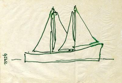 <p><strong>2b.</strong> 1986 Mavi Yolculuğunda yolcuların yaptıkları çizimlerden  örnekler. Üreterek öğrenmek toplu yapılan etkinliklerle anlamlıdır. Oyun  unsurunu da içeren bu etkinliklerden biri, kâğıtlara çizilen figürlerdir. <br />   Kaynak:  SALT Araştırma, Cengiz Bektaş Arşivi.</p>