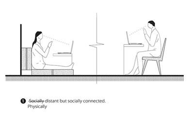 <p><strong>2b.</strong> Raiman Jonesun COVID-19 salgını kapsamında  sosyal mesafeye ilişkin ürettiği çizimler <br />   Kaynak: architecturenow.co.nz/articles/designers-guide-to-covid-19-physical-distancing/</p>
