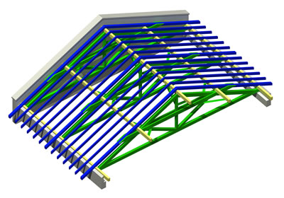 <p><strong>Şekil  2b.</strong> Geleneksel Ahşap Asma  Çatı Sistemi  </p>