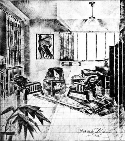 <p><strong>2b. </strong>Abdullah Ziyanın <em>Arkitekt</em> dergisinde yer alan modern iç mekân  çizimleri <br />  Kaynak: Ziya, 1931, <strong>Arkitekt</strong>, s.14.</p>
