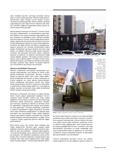 """<p><strong>2b.</strong> Şimşekalp Ercan, Tuğçe, 2015, """"Mimarın  Entelektüel Sermayesi ve Tasarımda Değerlilik İllüzyonu"""", <strong>Mimarlık</strong>, sayı: 382, ss.66-67.</p>"""