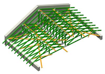 <p><strong>Şekil  2c.</strong> Avrupa'da kullanılan Sık Aralıklı Ahşap Kafes Sistemi   </p>