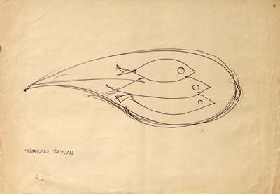 <p><strong>2c.</strong> 1986 Mavi Yolculuğunda yolcuların yaptıkları çizimlerden  örnekler. Üreterek öğrenmek toplu yapılan etkinliklerle anlamlıdır. Oyun  unsurunu da içeren bu etkinliklerden biri, kâğıtlara çizilen figürlerdir. <br />   Kaynak:  SALT Araştırma, Cengiz Bektaş Arşivi.</p>
