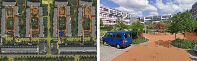 <p><strong> 3-1. </strong>Konut girişlerinin yarı kamusal mekânlar  aracılığı ile sağlandığı yapı adası örnekleri Strand, Brøndby, Kopenhag</p>
